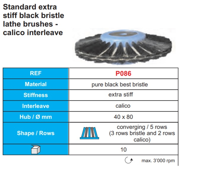 Standard extra stiff black bristle with calico Image